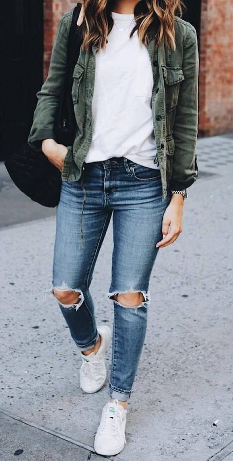 women's distressed blue jeans, white crew neck shirt and green chambray button-up jacket outfit