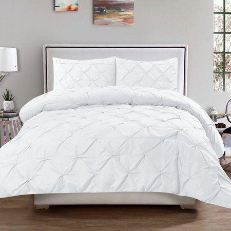 Luxury 3 Piece Pinch Pleat Pintuck Microfiber Duvet Cover And Pillow Sham Set Queen White Walmart Com Comforter Sets Pintuck Duvet Cover Pintuck Duvet