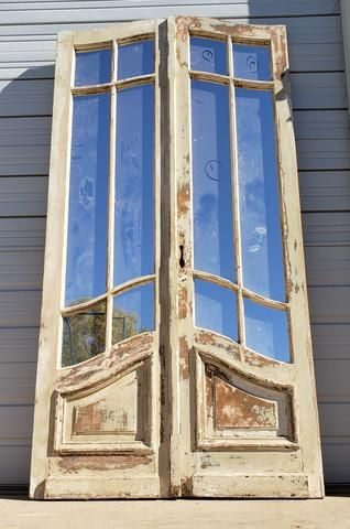 Pair Of Slightly Arched Doors With Mirrored Panes Antique French Doors French Doors Exterior French Country Doors
