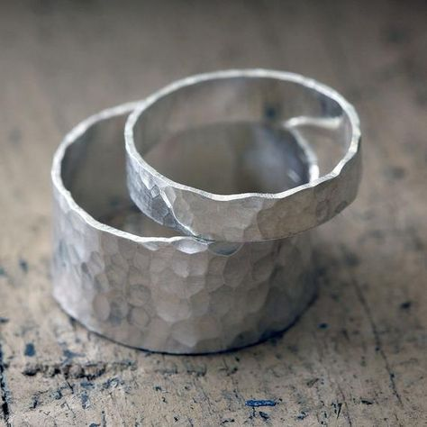 Wedding ring set sterling silver hammered rings by PraxisJewelry