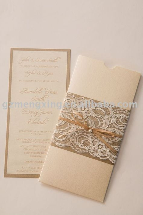 lace wedding invite belly band
