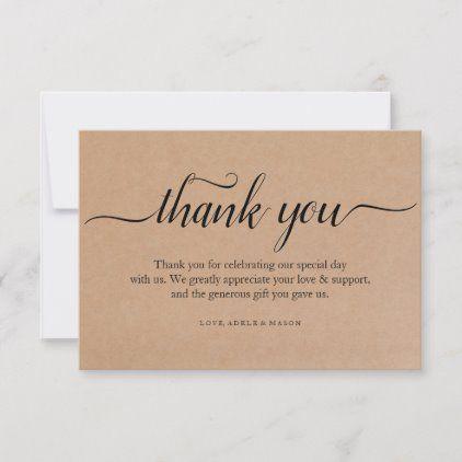 Kraft Paper Thank You Wedding Thank You Note Card Zazzle Com In 2020 Thank You Card Wording Thank You Note Cards Business Thank You Cards