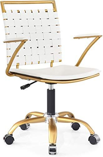 Amazing Offer On Luxmod White Gold Desk Chair Adjustable Swivel Chair Golden Armrest Home Office Chair Durable Woven Vegan Leather Ergonomic Desk Chair E In 2020 Home Office Chairs Ergonomic Desk