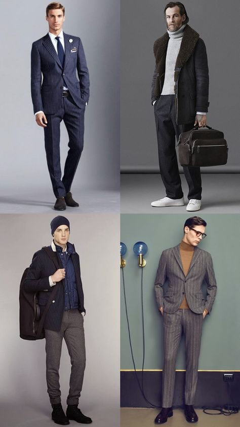 Men's Pinstripe Suits Outfit Inspiration Lookbook | Menswear