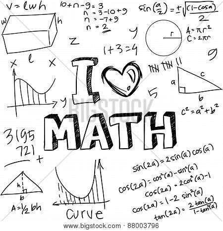 Vector Illustration Of Math Formulas Drawn With Doodle Style