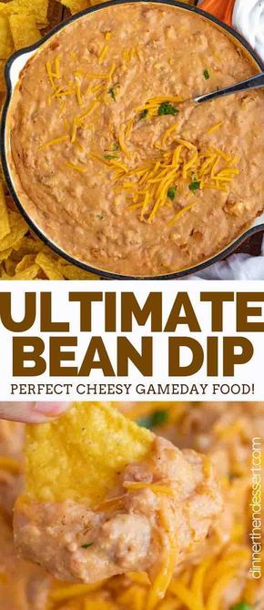 Ultimate Bean Dip ma Ultimate Bean Dip made with refried beans cream cheese salsa cheddar and taco seasoning is the ultimate party dip and is ready in only 5 minutes! Appetizer Dips, Appetizers For Party, Appetizer Recipes, Party Snacks, Tailgate Party Foods, Easy Party Dips, Simple Party Food, Taco Appetizers, Simple Appetizers
