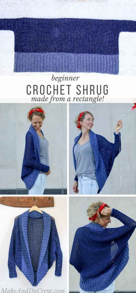 Don't let the dolman sleeves and modern silhouette fool you, this easy crochet shrug is made with basic stitches and simple shapes. via patterns free beginner simple Lightweight + Easy Crochet Shrug - Free Pattern Crochet Diy, Easy Crochet Shrug, Cardigan Au Crochet, Crochet Simple, Pull Crochet, Mode Crochet, Crochet Gratis, Crochet Scarves, Crochet Shawl
