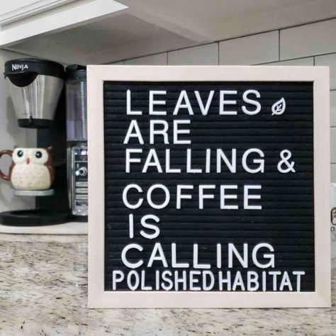 These fall letter board quotes are the perfect way to add seasonal decor without having to buy or store seperate art for each season. Felt Letter Board, Letter I, Style At Home, Kitchen Letters, Kitchen Board, Letterboard Signs, Summer Quotes, Fall Quotes, Fall Boards