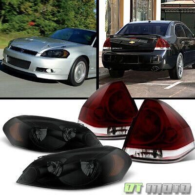 2006-2013 Chevrolet Impala Black Smoked Headlights Dark Red Tail Lamps Lights