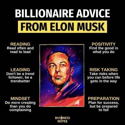 Billionaire Advice From Elon Musk Investing For Beginners In 2020 Business Notes Business Motivation Billionaire