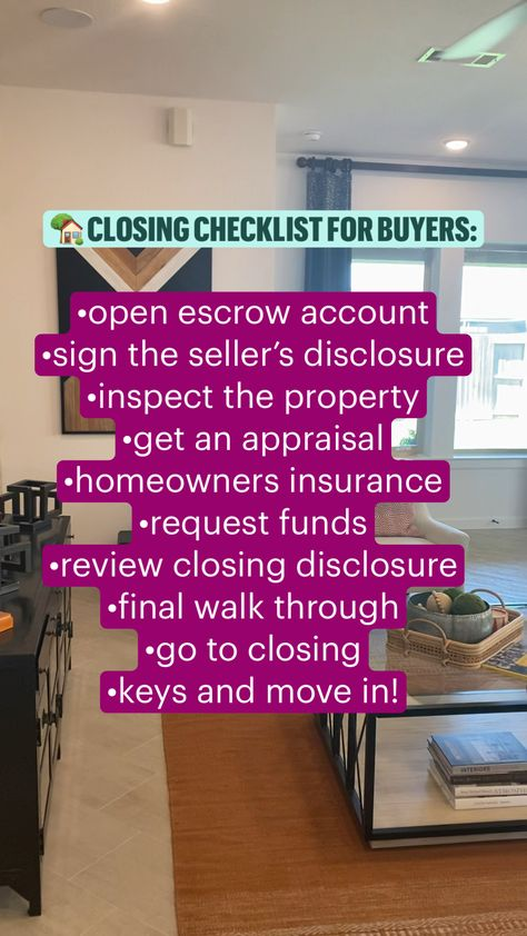 🏡 Closing checklist for Buyers: #newhomechecklist #newhome #newhometips