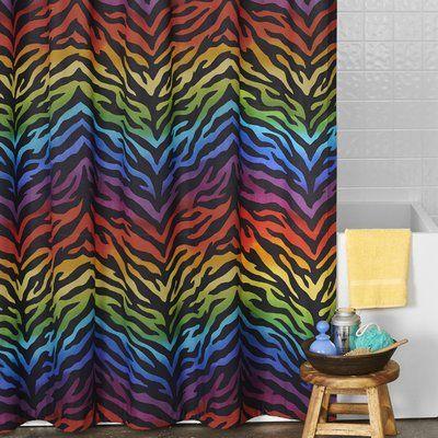 Ebern Designs Wuest Single Shower Curtain Rainbow Zebra Zebra