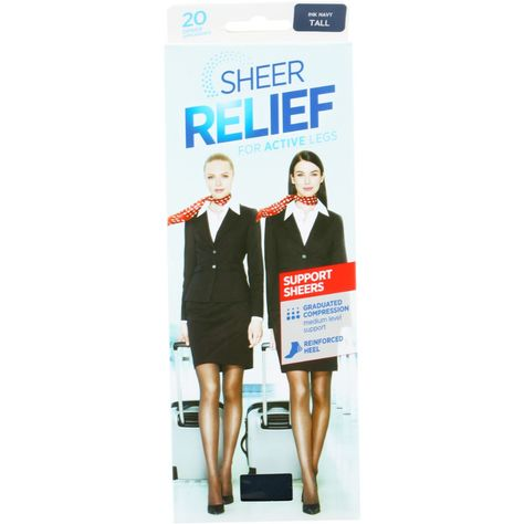 Sheer Relief Women's 20 Denier Support Sheers Pantyhose - Navy - Average | BIG W