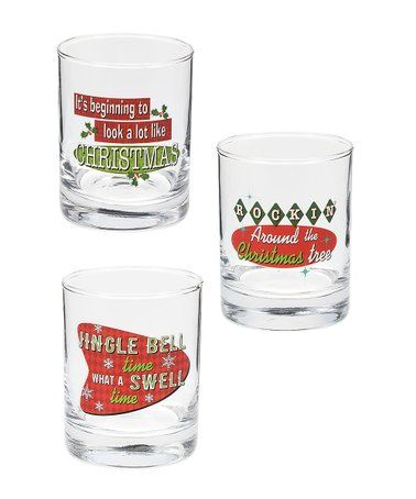 Another Great Find On Zulily Jingle Bell Time 50 S All The Way Glass Set Zulilyfinds Glass Set Jingle Bells Christmas Cocktails