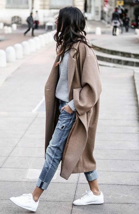 Even Though You Think It's Impossible, I'll Teach Camel Oversized Coat Boyfriend Jeans White Sneakers Grey Sweater Minimalist Fall