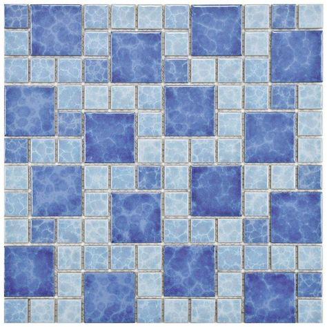 Merola Tile Watersplash Versailles Adriatic 11 3 4 In X 11 3 4 In X 6 Mm Porcelain Mosaic Tile Fyfwvad Porcelain Mosaic Tile Porcelain Mosaic Mosaic Flooring