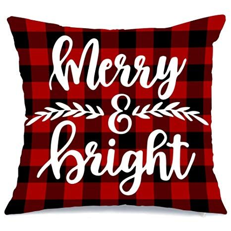 Artivestion Christmas Pillow Covers 18 x 18 Inches Set of 6,Christmas Decorations for Home Outdoor Christmas Decor,Christmas Decorations Throw Pillow Covers