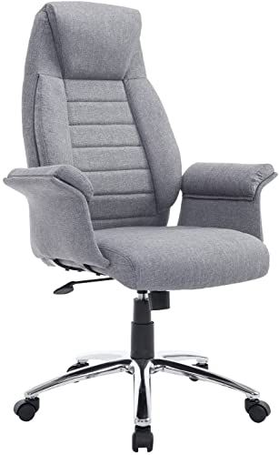 New Homcom High Back Fabric Executive Leisure Home Office Chair Arms Light Grey Online Findandbuytopstyle In 2020 Grey Home Office Furniture Home Office Chairs Home Office Furniture