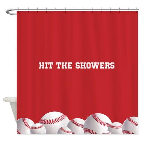 Red Baseball Shower Curtain By Inspirationz Store Baseball