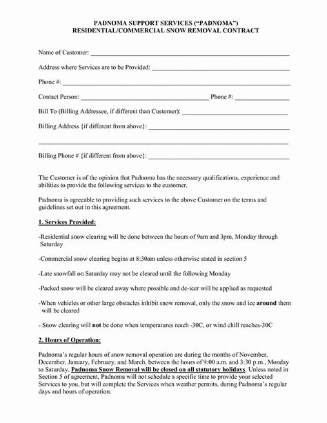 Snow Removal Contract Template Inspirational 10 Best Of Snow Plow