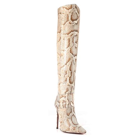 New with box UK SIZE 4 Womens Heavenly Sole Tan snakeskin knee high boots