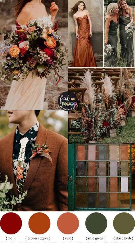 Brown Copper und Rifle Green Color Combos {Subtile Sage Undertones} - In a lan. - Hochzeit - Brown Copper und Rifle Green Color Combos {Subtile Sage Undertones} – In a land far, far away - Bodas Boho Chic, Fall Wedding Colors, Autumn Wedding Decorations, Fall Wedding Themes, Orange Wedding Colors, Popular Wedding Colors, Spring Wedding, Color Palette For Wedding, Autumn Wedding Ideas October