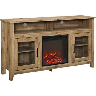 Walker Edison 58 In Wood Highboy Fireplace Media Tv Stand Console W58fp18hbwo At Tractor Supply Co Fireplace Tv Stand Glass Tv Stand Barn Wood