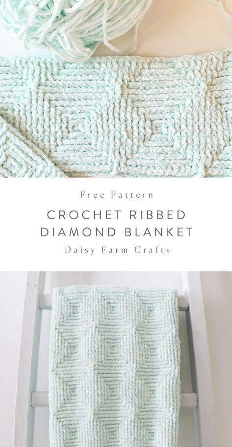 Free Crochet Blanket Pattern - Ribbed Diamond Blanket - - We love Bernat Baby Velvet! And using it with the front post and back post double crochet stitch has turned…. Crochet Afghans, Afghan Crochet Patterns, Baby Blanket Crochet, Crochet Blankets, Baby Afghans, Amigurumi Patterns, Crochet Blanket Stitches, Dishcloth Crochet, Modern Crochet Patterns