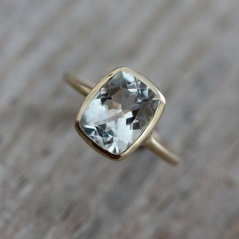 Aquamarine Cushion Ocean Blue Gemstone Ring in 14k Yellow Gold, Custom Gold Ring Made in Your Size