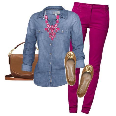 Baublebar Magenta Mosaic Bib - Outfits for Work 📍Leggins beere , Jeanshemd, Ballerinas. Summer Work Outfits, Casual Work Outfits, Mode Outfits, Work Casual, Fall Outfits, Airport Outfits, Work Fashion, Trendy Fashion, Winter Fashion