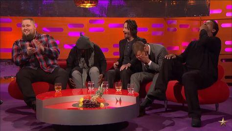 Jamie Dornan, Denzel Washington, and Keanu Reeves laughing on Graham Norton