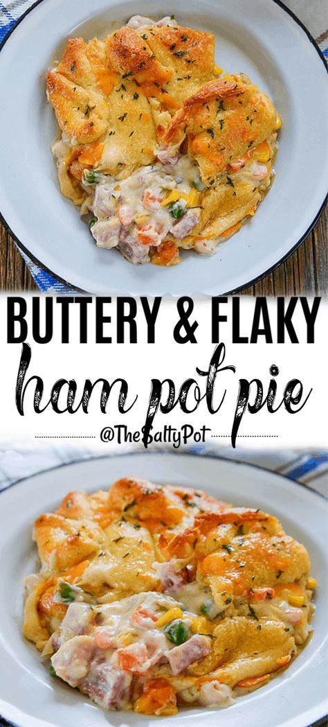 This Buttery and Flaky Ham Pot Pie is ideal for using up leftover ham! It's SO delicious, just like chicken pot pie, but better!! #thesaltypot #hampotpie #chickenpotpie #hamrecipes #leftoverham