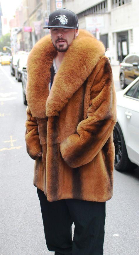 Men's Cognac Rex Rabbit Fur Stroller Fox Collar 6443 – Most Beautiful Fur Models
