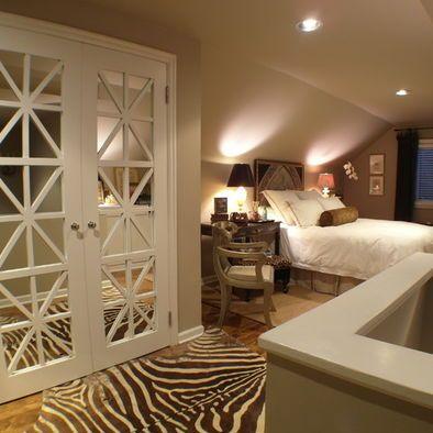 Covering Mirrored Closet Doors   Could help update the usual mirrored door look...