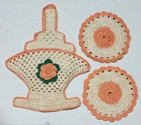 Vintage Crochet May Basket Coasters Door Prize Gift