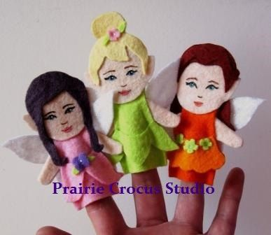PDF Felt Fairy Finger Puppets or Hanging by PrairieCrocusStudio