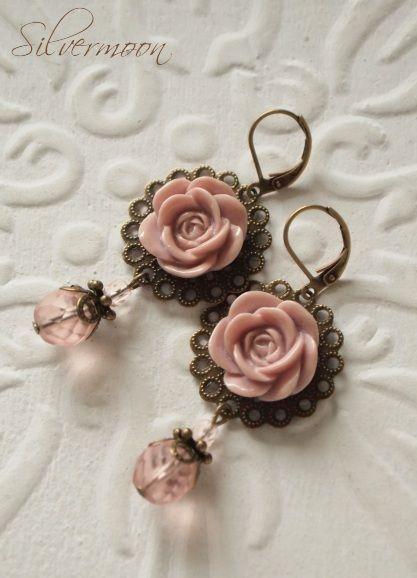 Rosen In Altrosa Diy Rose Earrings Beaded Earrings Basic Jewelry