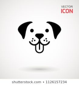 Dog Head Icon Flat Style Cartoon Dog Face Vector Illustration Isolated On White Silhouette Simple Animal Logoty Dog Face Silhouette Images Animal Logotype
