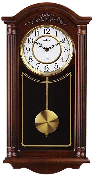 c20cd4097acc Vedette VP60001 - Reloj de pared analógico de pendulo de cuarzo - madera   Amazon.es  Relojes