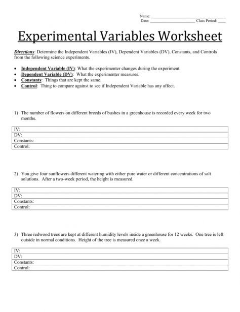 7 Science Experiment Variables Worksheet Science Experiments Science Experiments Videos Science Worksheets