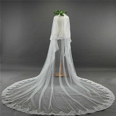 Lace Applique Veil 2 Tier Lace Veil Ivory Wedding Veil Lace Edge Veil Two Tier Chapel Length Wedding Veil