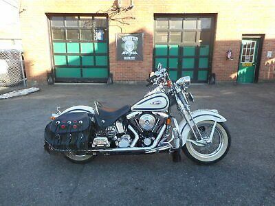Ebay 1997 Harley Davidson Softail 1997 Harley Davidson Flsts Heritage Springer First Year White With Blue Scallop In 2020 Harley Davidson Dyna Harley Davidson Harley