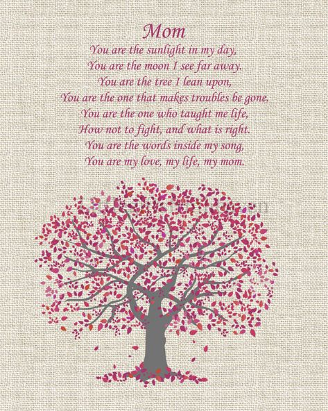 Mom Poem Tree Print, poem for mother, mothers day gift, gift from daughter, custom gift from son, mo