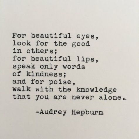Audrey Hepburn Beautiful Quote Typed on Typewriter - 4x6 White Cardstock