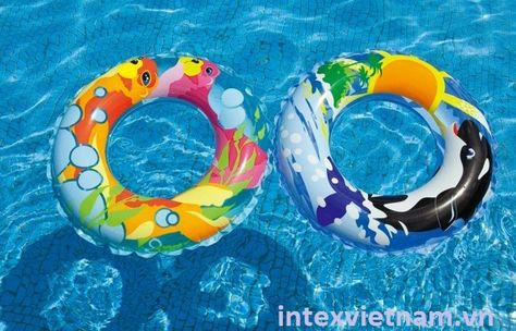 """INTEX Inflatable 36/"""" Pool Tube 59251 Clear Color Water Ring Pink Blue Orange NEW"""