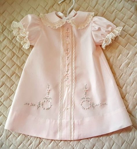 Newborn girls 2pc white basiste baby dress with blue floral hand embroidery French lace trim~Easter~Take Me Home