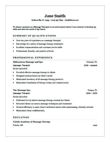 Cv Template Therapist Massage Therapist Jobs Massage Therapist Resume