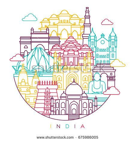 India Detailed Skyline Travel And Tourism Background Vector Line