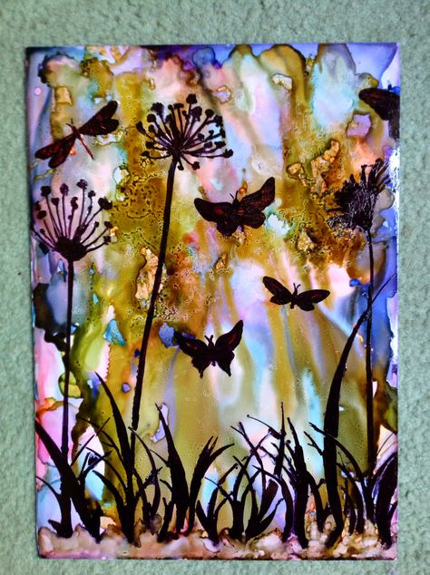 Alcohol ink background, stencil with a black sharpie