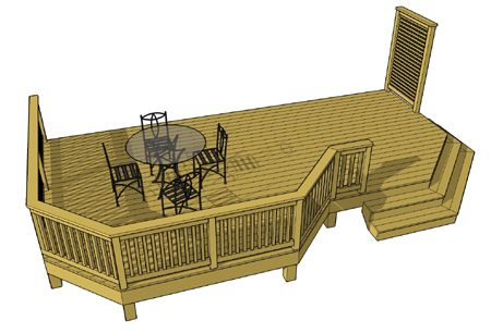 Another free deck plan at 300 sf with a small privacy screen.